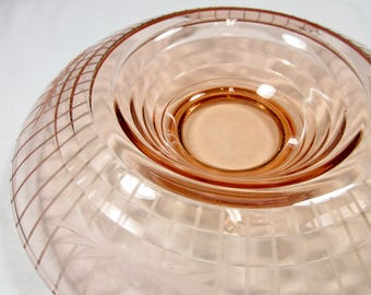 Vintage Pink Depression Glass Rolled Edge Bowl / Compote / Etched Glass / Large and Lovely / Wedding Gift