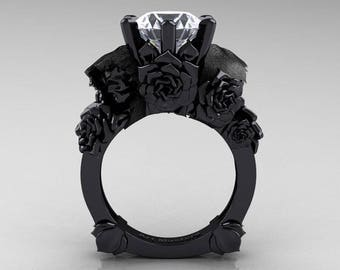 Love and Sorrow 5K Black Gold 3.0 Ct White Topaz Skull and Rose Solitaire Engagement Ring R713-5KBGWT
