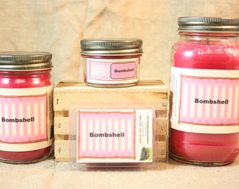 Bombshell  (VS Type) Scented Candle, Bombshell (VS Type) Scented Wax Tarts, 26 oz, 12 oz, 4 oz Jar Candles or 3.5 Clam Shell Wax Melts