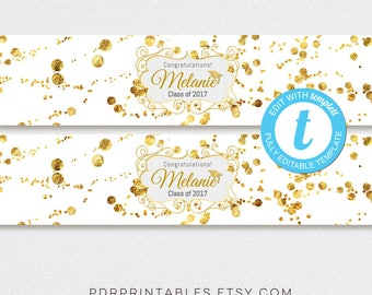 Water Bottle Label Template, Gold Confetti Graduation WaterBottle Wrap Template, Glitter Party Printable Labels, Templett 24612
