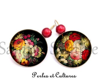 Folk art motif earrings folk flowers cabochon leaf red black green yellow pearls vintage