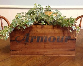 Antique wooden shipping box crate old wood advertising Armour Star Corned Beef rustic industrial storage display planter garden home decor