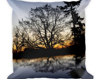 Sunrise Print Throw Pillow - Decorative Pillow - Tree Print - Fall Decor - Photo Print Square Pillow - Housewarming Gift - Double Sided