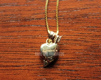 Supreme 14k Gold Heart & Arrow Pendant with Gold Chain