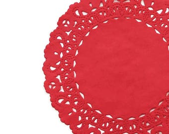 """TRUE RED Paper Lace Doilies 