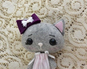 Handcrafted Cat Doll, Soft Toy Cat, Best Friend Doll, Handmade Cat Doll, Wool Cat Doll, Cat Plushie, Dressed Up Cat Doll, Light Grey Cat