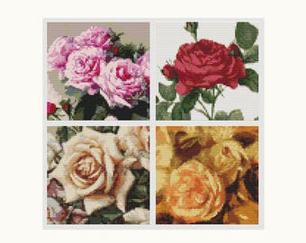 Cross Stitch Chart, Four Squares featuring Roses Cross Stitch Pattern PDF, Art Cross Stitch, Embroidery Chart (FOUR02)