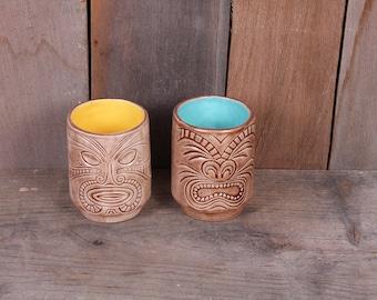 Vintage Nesting Mini Tiki Mug Cups Detailed Signed Evelyn Fiedler Teal Gold