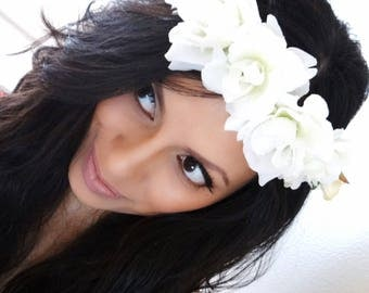 White Floral Crown, White Hair Accessory, Flower Crown