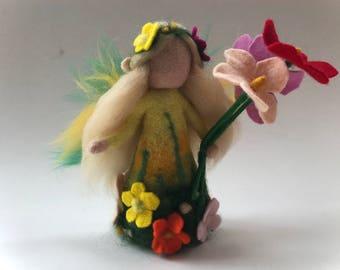 Spring-Summer Fairy.Waldorf. Hand-felted. Needle felted .Waldorf