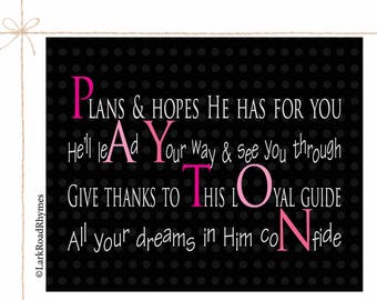 Girl Baptism Girls Baby Christening Gifts Goddaughter Christian Baby Gift Nursery Wall Art Christian Personalized Poem 8x10 Payton