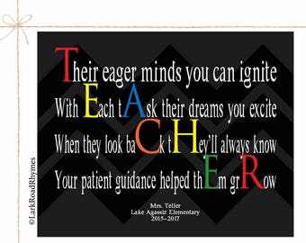 Retirement Gifts For Teachers Personalized Teacher Gift Teacher Poem Teacher Appreciation Teacher Decor Decorations Classroom Art Print