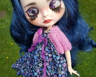 Pansy - OOAK custom Blythe with handpainted eyechips and lovely outfit and shoes