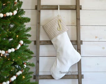 Neutral Striped Christmas Stocking with Personalized Monogrammed Letter