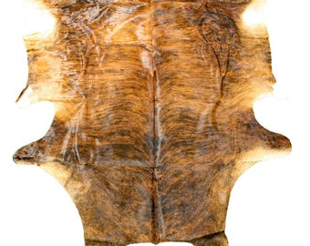 Glacier Wear Cow Hide Leather Hair-On Rug #017