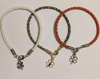 Lucky Shamrock Braided Leather Bracelet
