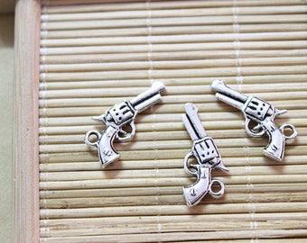 30 antique silver gun pendant charms