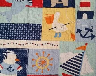 Sale Nautical Crib, Ocean Crib Quilt, Bulldog Crib Quilt, Sailboat, Gender Neutral, Sailor, Pelican, Anchor Crib Quilt, Bright Colors Ships