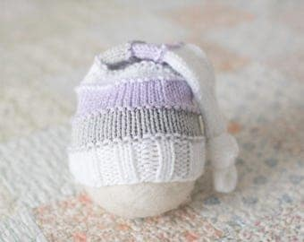 Sleepy Hat, Newborn Stocking Hat, Newborn Sleepy Hat, Knit Newborn Knot Hat, Striped Stocking Hat, Twin Newborn Hat Photo Props