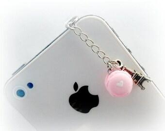 ON SALE Macaron Eiffel Tower Dust Plug Charm, For iPhone or iPod, Kitsch Tiny Macaroon, Phone Charm, Cute And Kawaii :D