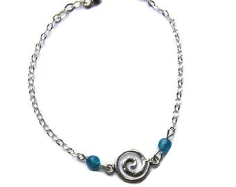 925 silver bracelet, spiral and turquoise agate
