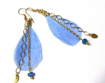 Earrings feathers blue and gold chains
