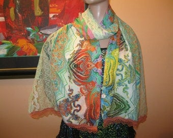 """scarf/scarf for women - fabric and lace - pattern """"Emerald"""""""