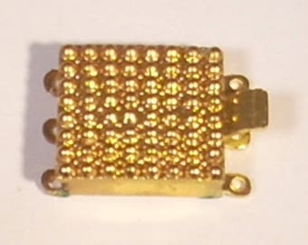Square gold tone multi-row x 3 to 15mm clip clasps