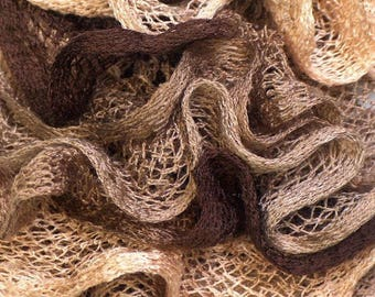 scarf color trio of Brown ruffles small nets - handmade