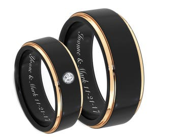 Engraved Promise Rings, Personalized Ring, Engraved Wedding Ring, Wedding Band, Valentines Day Gift, Custom Engraved Ring