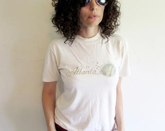 Vintage 70s 80s Trashed Distressed Faded Old Glittery Stars Atlanta T Shirt