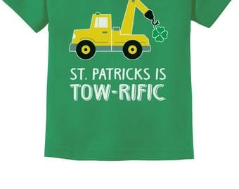 St. Patrick's Day Gift Clover Tractor Toddler Kids T-Shirt