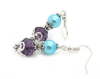 Blue and Purple Peacock Bridesmaid Earrings, Peacock Pearl Drop Earrings, Crystal Dangles, Eggplant Bridesmaid Jewellery, Eggplant and Aqua