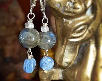 SageAine: Labradorite  Sphere, Moonstone, Blue Kyanite Silver Earrings,Auric Shield, Empath Stone, Reiki Charged, Gift for her