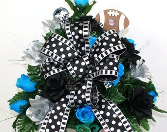 Carolina Panthers Fan Vase Cemetery Flower Arrangement