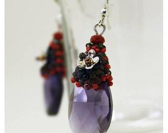 ON SALE purple drop earrings, summer earrings, purple dangle, teardrop earrings, purple crystal, lightweight beaded earrings, earrings flowe