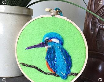 Kingfisher felted art