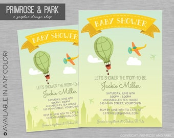 Up Up and Away Baby Shower or Birthday Invitation // Hot Air Balloon Invitation // Gender Neutral Invitation // Printable Digital File