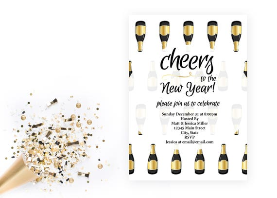 New Years Eve Party Invitation - Champagne Bottles - Cheers to the ...