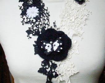 Black and white lace necklace, flowers and butterfly