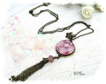 long vintage sautoir necklace pink CO624