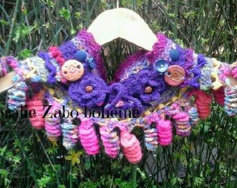 Cowl knitting handmade-cowl boho-neckwamer boho handmade multicolors wool