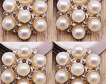 4 Flat Back Rhinestone Pearl Button Embellishment (17 mm) QS-214