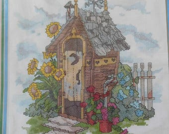 1990 Golden Bee counted cross stitch kit OUTHOUSE