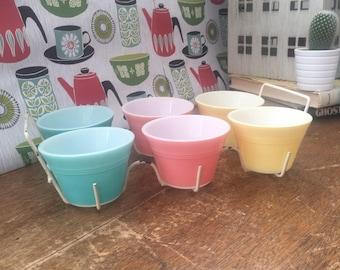 Vintage JAJ Pyrex Pastel Ramekins Custard Cups with Cradle