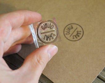 "Custom Rubber Stamp ( 1"" x 1"" )  - Custom Logo Stamp - Customized Stamp"