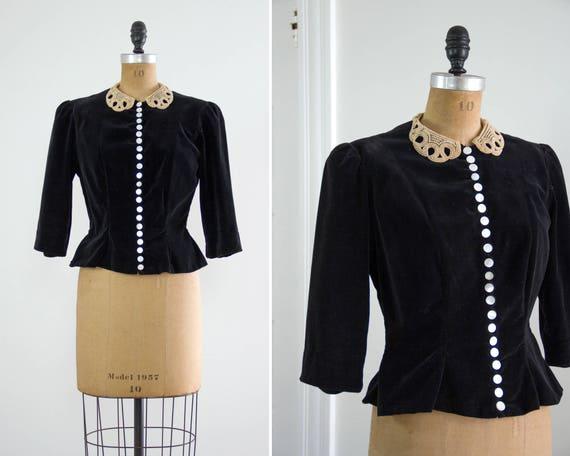 vintage 1930s blouse | 30s shirt | 1930s velvet top | black velvet peplum jacket