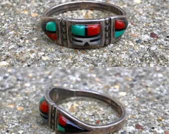 Zuni Native American sterling silver vintage turquoise coral onyx mother of pearl inlay band southwestern boho ring size 12.25