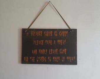 Distressed Halloween Trick or treat sign/entryway sign for trick or treating