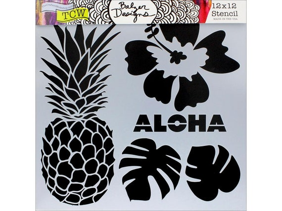 "Aloha 12 x 12"" Stencil designs like pineapple, tropical leaves, hibiscus perfect for mixed media, scrapbooking, journaling and more"